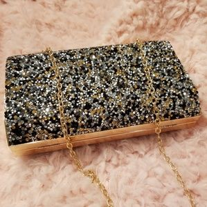 Elegant Black multi gem stone dazzling clutch bag